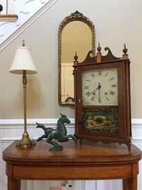 Antique Reverse Painted Pillar and Scroll Shelf Clock from Chauncey and Ives, Antique Flip Top Card Table, Marble Horse Sculpture