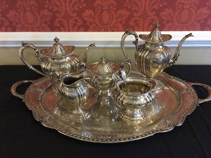 Gorham Sterling Tea and Coffee Set with Tray