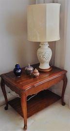 Blanc de Chine lamp; end table