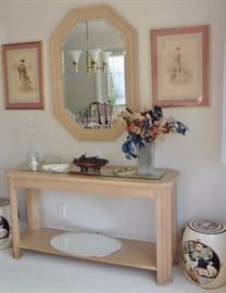 Console table; framed French lithos
