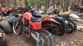 the Bone Yard: Dirt Bikes ATVs couple snowmobiles