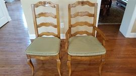Bausman & Co. French Country Latterback Dining Chairs w/Rush Seats w/Upholstered Cushions (4 Sidechairs & 2 Armchairs)
