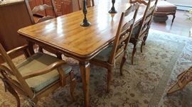 """Bausman & Co. French Country Dining Table w/2 (24"""") Pullout Leaves (42"""" x 84"""") Closed"""
