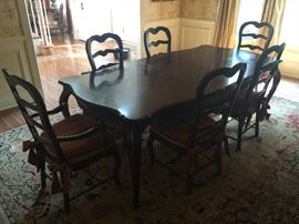 Henredon Four Centuries Inlaid Oak Dining Table w/Scalloped Edged Top w/3 Leaves (3' x 5' Closed)Henredon Oak Latterback Dining Chairs w/Rush Seats & Upholstered Red/Gold Cushions (4 Sidechairs & 2 Armchairs)