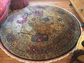 """82"""" Round Handknotted Wool Rug, Red/Gold/Blue/Beige Oriental Motif"""