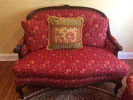 Wood Framed French Style Chair & a Half, Red Floral Upholstery
