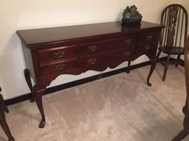 Buffet with 6 drawers; Queen Anne style