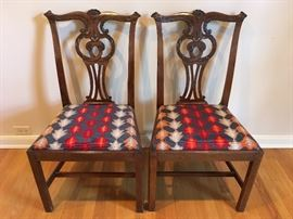 Pair Chippendale style side chairs with needlepoint seats