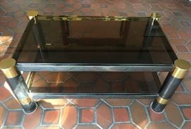 Attributed to Karl Springer, tiered coffee table, mixed metal & smoked glass, unsigned