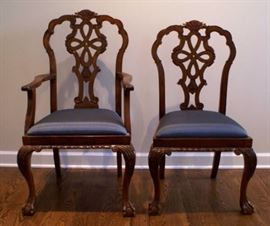 2/12 c 1910 Irish Chippendale dining chairs