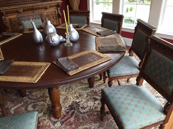 Extra Large Round Dining Table DUH Antique Chairs With Original Teal Upholstry