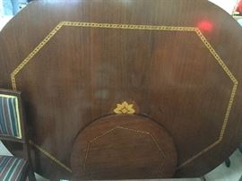 LARGE INLAID DINING ROOM TABLE $400 INLAID LAZY SUSAN $55.00