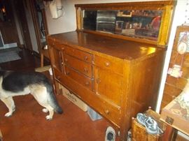 Antique buffet with mirror.