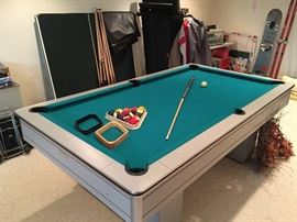 "3 piece 3/4"" slate custom pool table with ping pong top. Accessories included."