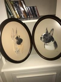 Hand painted Boston terrier and Great Dane