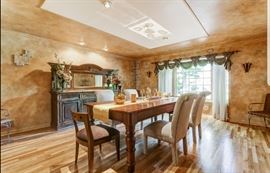 featured here a 1920's original library table repurposed as a Farm Style dinningroom table.