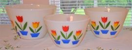 Fire King Tulip Mixing Bowls - 3