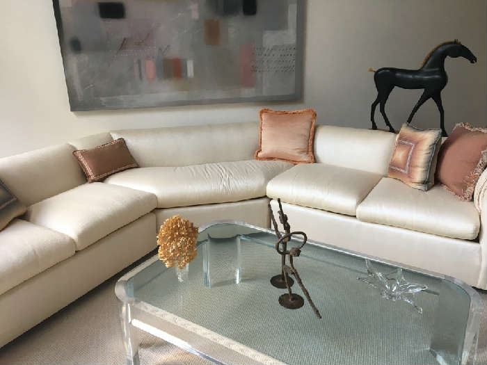 """3 piece sofa sectional off white shimmer end pieces 52""""L 32""""w Middle piece 73""""L (Horse, Table and table decor not for sale)"""