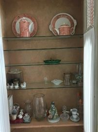 "2 lighted Curio / Armoire's done in Salmon/Beige/ Gray tones with Chicken wire front, draperies velcro in, Shelves inside...80""h 37""w 12""d"