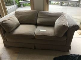 "Tan Baker Love Seat 62""l x 36""w"