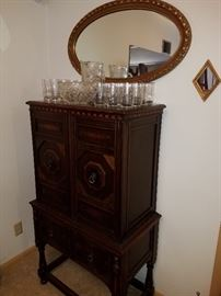 Much antique and modern furniture. Oak upright sideboard with inlay trim