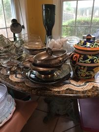 Silver plated everything and random pottery