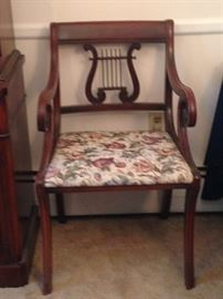 Set of 6 lyre back chairs (2 are arm chairs).
