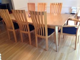 Mid-century table made by Rway of Wisconsin. Eight matching chairs made in Italy.