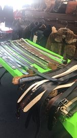 Lots of belts leather and exotic skin