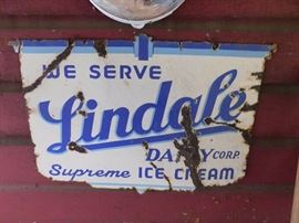 Double Sided Lindale Dairy Porcelain Sign