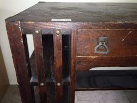 Details of Mission Oak Desk -- original hardware