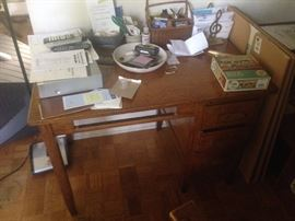 Oak desk complete goes with Stickley chair