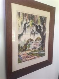 $imon watercolor of Southern Plantation signed, 1950s