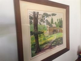 $imon watercolor of Sudbury Grist Mill, MA, signed 1950s