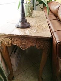 Carved sofa/entry table with marble top $250 OBO
