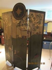 hand painted wood screen depicts sailing ships, people and country side in early America.