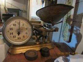 Jacobs, NY made this brass scale. All the weights are  original to the piece.  There are three other scales  that are balance scales. There are 2 scales from 1940-50 for babies.