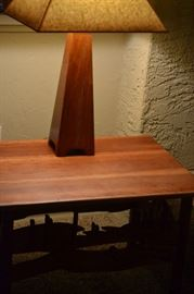 TABLE LAMP IS SOLD.  CARVED END TABLE IS AVAILABLE FOR SATURDAY PURCHASE