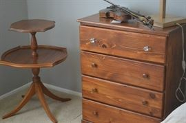 SMALL 4 DRAWER CHEST, TIERED TABLE, VIOLIN