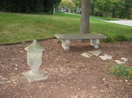 Vintage cement gardent decor - bench and more