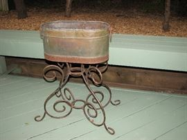 Vintage copper planter with stand