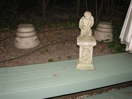 Vintage cement garden decor - planters and angelic statue