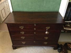 Early Dark Oak Lift Top Chest with 3 Drawers