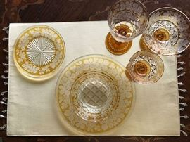 Place setting of Bohemian Amber Cut to Clear