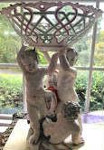 Pair of Tall Antique Porcelain Comports with Putti