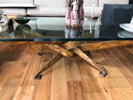 Brutalist coffee table with glass top. Style of Silas Seandel