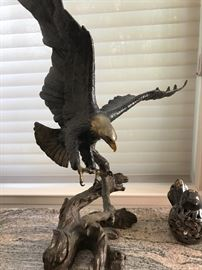 Bronze eagle sculptures by Mark Hopkins, I have another eagle by same artist as well as wolves by Mark Hopkins