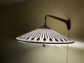 Cool hanging paper shade lamp with wood inlaid on top of paper,