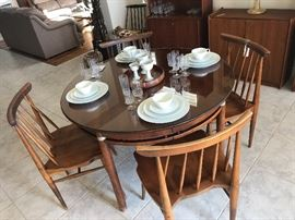 Willets chairs and mid century dining table with leave and great china and crystal