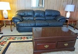Leather sofa, coffee table with lift top table, nice veneer end tables, and lamps with base night lights